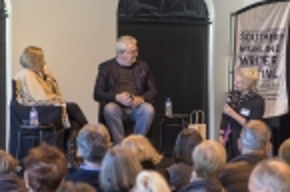 Festival Director Michaela Bolzan thanks Lucy Palmer and Dr Simon Longstaff. Photo by Greg Jackson.