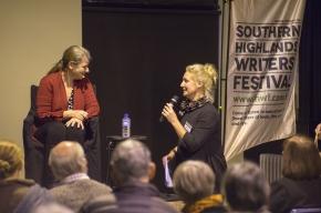 Festival Director Michaela Bolzan thanks Sue Turnbull and Meg Keneally. Photo by Greg Jackson.