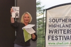 Festival Director, Michaela Bolzan shows off one of the 2016 authors - Jane Caro. Photo by Greg Jackson.